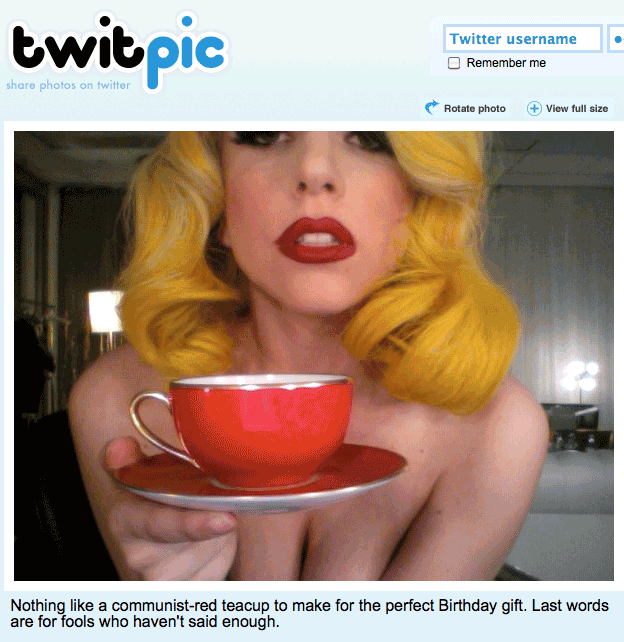 Lady Gaga Birthday Cup Topless