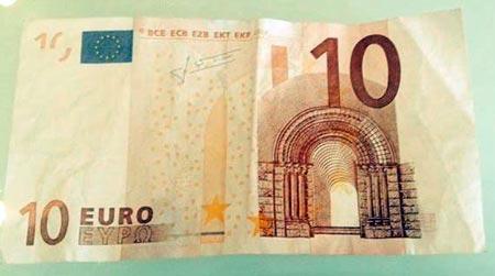 10 euron väärennetty seteli