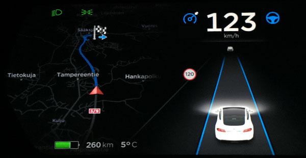 Tesla Model S Autopilot Autosteer, Kuva: Stara