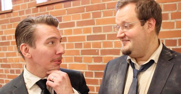 Aku Hirviniemi ja Sami Hedberg Luokkakokous 2 -kuvauksissa Vanajanlinnassa